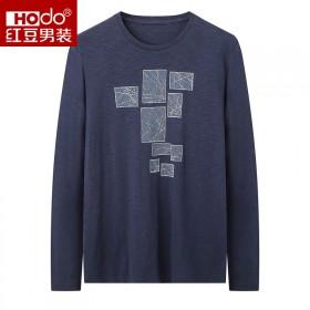 品牌剪标100%棉经典圆领印花休闲男士长袖T恤衫潮