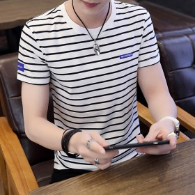 夏季男士純棉短袖T恤韓版青少年休閑圓領套頭條紋修身