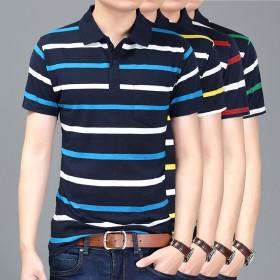 夏季男士短袖T恤衫条纹休闲polo衫