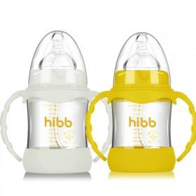 婴幼童宽口玻璃奶瓶防摔防胀气新生儿童带防护套宝宝防