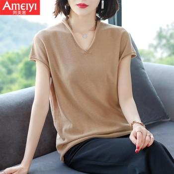 纯棉短袖针织衫T恤宽松百搭V领薄款打底衫