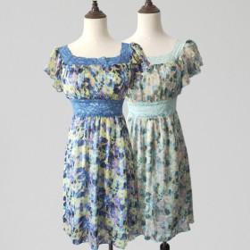 剪标原单碎花雪纺蕾丝腰中长款连衣裙