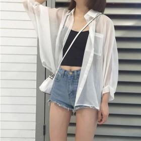 防晒衣短外套超仙外搭空调衫薄白色雪纺开衫外套女