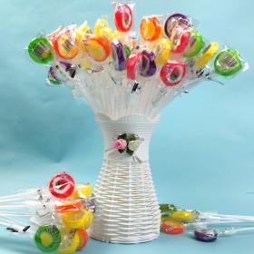 50只水果切片棒棒糖送花篮