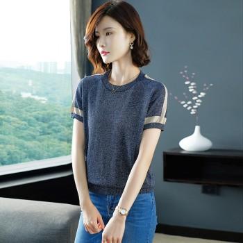 白带T恤女短袖亮丝针织衫