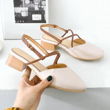 包头凉鞋女粗跟复古奶奶鞋一字扣夏季百搭新款玛丽珍中
