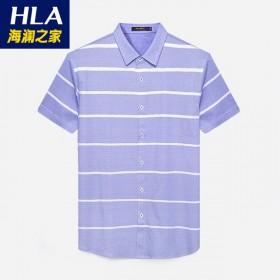 品牌剪标新款休闲男士衬衫紫色条三角印花短袖衬衫