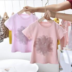 外贸女童夏款韩版儿童纯色女宝宝打底洋气花朵半袖T恤