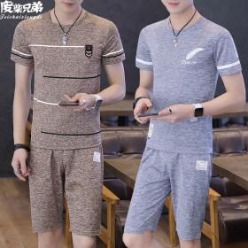 套装/短袖夏季休闲套装男士T恤短裤冰丝套装男学生青