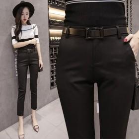 黑色哈伦裤女九分裤韩版宽松显瘦9分小脚休闲西装裤女