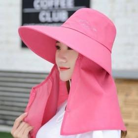帽子女士夏季遮阳帽户外防晒遮脸大檐太阳帽可拆卸骑车