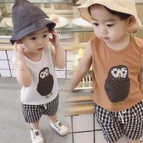 夏季新款韩版儿童无袖背心短裤套装宝宝印花两件套潮