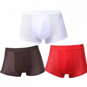 3条男士冰丝网眼透气四角性感青年中腰内裤
