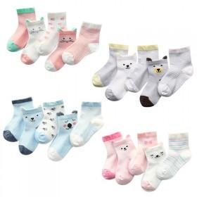 5双装袜子卡透气数字网眼薄款袜子船袜 男女童儿童夏