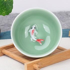 1个茶杯青瓷鱼杯