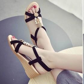 夏季坡跟凉鞋韩版厚底坡跟串珠凉鞋女防水台中跟平底女