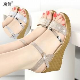 高跟鞋粗跟凉鞋女学生平底夏季女鞋一字扣甜美罗马鱼嘴