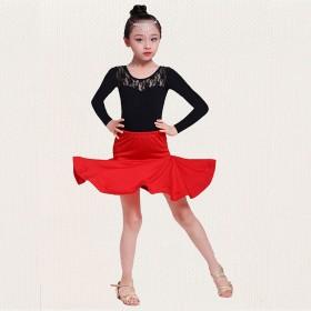 新品拉丁舞裙舞蹈服儿童女童练功服比赛跳舞