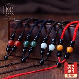 手工编织吊坠挂绳玛瑙翡翠玉坠挂绳挂脖挂件项链绳挂坠