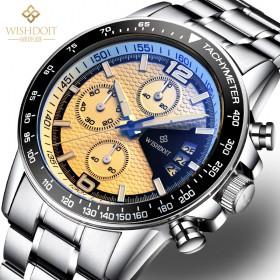 手表男士石英表商务休闲防水户外夜光精钢皮带男士手表