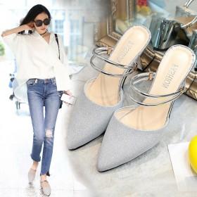 新款包头凉鞋女中跟两穿凉拖鞋外穿半拖鞋粗跟高跟鞋百