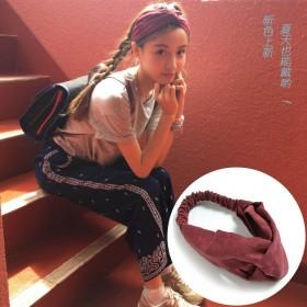 韩国交叉松紧发带针织发箍麂皮绒头带女士发饰韩版