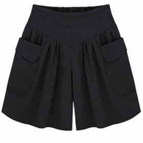 夏季短裤女装胖mm200斤加大码短裤女欧美风宽松阔