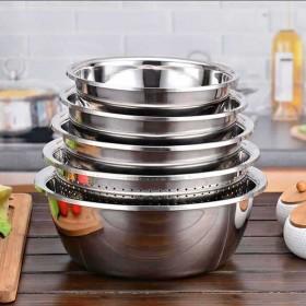 【5件套】不锈钢盆加厚调料缸菜盆漏盆洗菜盆淘米盆和