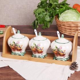 日式陶瓷调味罐三件套 家用创意厨房用品调料罐油盐罐