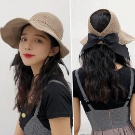 网红遮阳帽出游可折叠防晒帽蝴蝶结空顶草帽时尚百搭