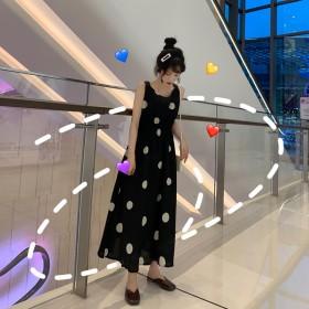 网红维多利亚法式复古裙法国小众露背吊带波点连衣裙