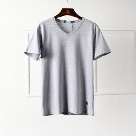 商场品牌剪标2019夏季新款男士浅灰色圆领短袖T恤
