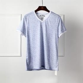 2019夏季新品品牌外贸男装剪标蓝色V领短袖T恤