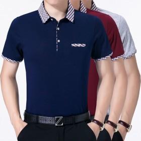 短袖纯棉T恤衫纯色薄款商务半袖修身男夏季T恤衫