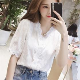 夏装新款V领花边灯笼袖白色洋气蕾丝衬衫女百搭超仙上