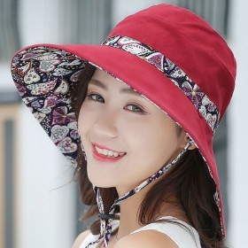 双面可戴 可折叠帽子女夏天遮阳帽防晒帽布帽防紫外线