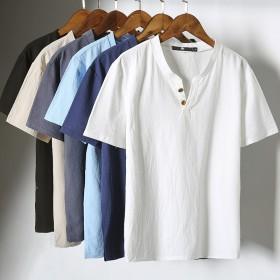 纯色棉麻短袖体恤韩版休闲大码潮流t恤中国风男士T恤