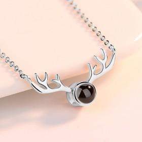 纯银投影麋鹿项链