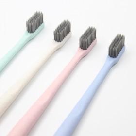 超软毛5支装小麦秸秆竹炭牙刷家用男女士情侣小头牙刷