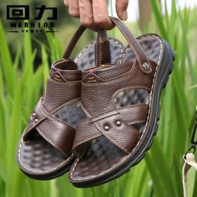 回力夏季头层牛皮凉鞋