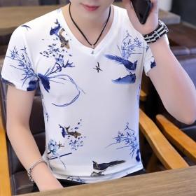 仙新夏装条纹短袖t恤靓男装青少年v领