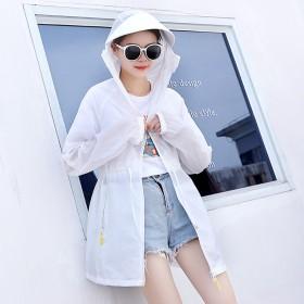 户外防紫外线防晒衣夏季纯色系带薄款长袖外套连帽拉链