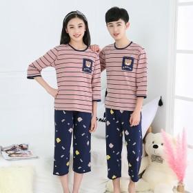 新款夏季儿童睡衣空调服纯绵套装薄款两件套小孩居家服