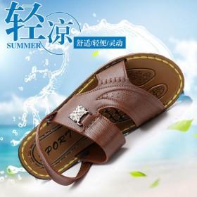 夏季新款露趾青年沙滩鞋两用中年凉拖鞋舒适男士凉鞋