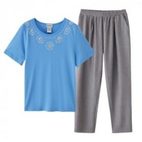 中老年妈妈套装美单T恤衫加日单夏季清凉速干裤