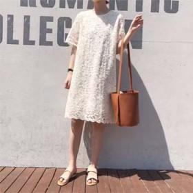 短袖连衣裙超美粉嫩直筒气质