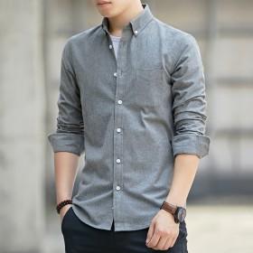 男士长袖短袖修身衬衫棉休闲帅气不起球不掉色春夏季