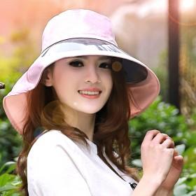 pvc拼接太阳帽女士遮阳帽防紫外线帽骑行帽大檐帽子