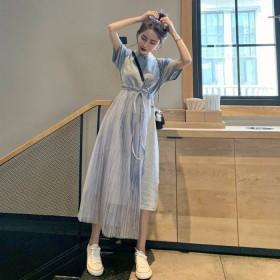 长裙子超仙气质拼接网纱连衣裙女夏季学生网红仙女裙