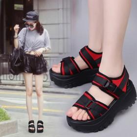 新款透气凉鞋厚底增高女夏松糕鞋休闲罗马摇摇鞋女鞋